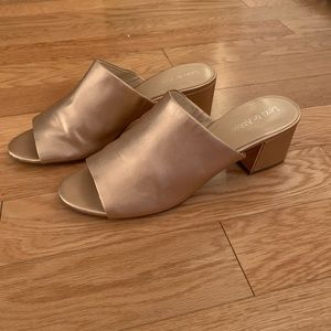 Rose Gold Open Toe Mules